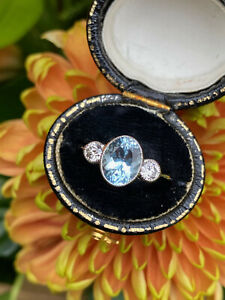 Aquamarine and Diamond Three Stone Trilogy Ring Platinum 0.40ct + 1.60ct