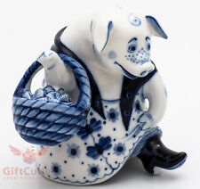 Gzhel Porcelain Figurine Cute Folk Pig w cabbage in basket hand-painted handmade
