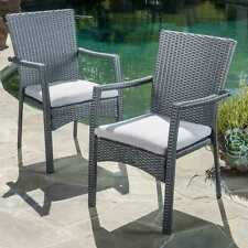 Outdoor Wicker Dining Chair W/ Cushion Set of 2 Iron Frame Grey Patio Furniture