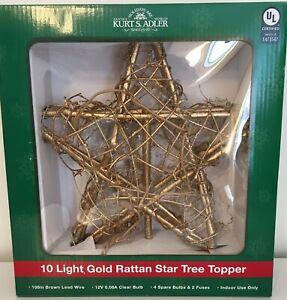 Kurt S Adler 10 Light Gold Rattan Star Tree Topper  Brand New