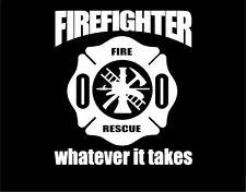 Firefighter Sticker Maltese Cross Window Vinyl Decal Custom Whatever it Takes