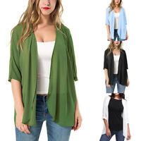 Fashion Womens Short Sleeve Solid Sheer Loose Kimono Cardigan Casual Beach Capes