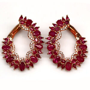 NATURAL RED PINK RUBY & WHITE CZ EARRINGS 925 STERLING SILVER