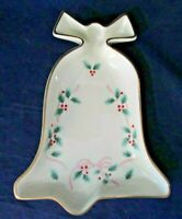 Mikasa Pink Ribbon Holly Bell Shaped Fine China Dish FK017 EUC
