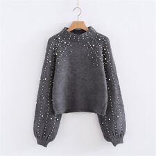 Women Autumn Winter Casual Gray Long Short Pearl Knit Sweaters Pullover Jumper