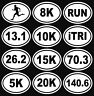 Oval Running Decal 13.1, 26.2, 5k, 8k, 10k, 15k, 20k, RUN, iTRI, 70.3 Triathlon
