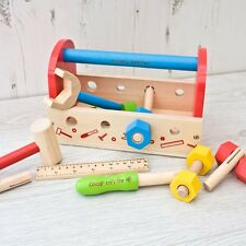 Personalised Childrens Play Toy Tool Kit Set & Wood Carry Case Boys Wooden Hamer