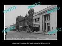 OLD LARGE HISTORIC PHOTO OF DODGEVILLE WISCONSIN, THE MAIN St & STORES c1920