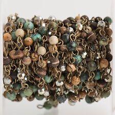 3ft GEMSTONE CRYSTAL Rosary Chain, bronze 4mm jasper agate African trq fch0703a