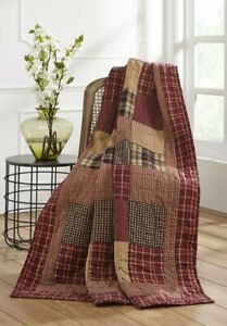 NEW!! Primitive Country Farmhouse RUTHERFORD Quilted Patchwork Throw Blanket
