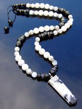 Moonstone Tourmaline Crystal Natural Gemstone Macrame Necklace Healing Stone