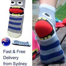 Grey and blue Monster socks - Biting footware - funny big mouth  sock novelty