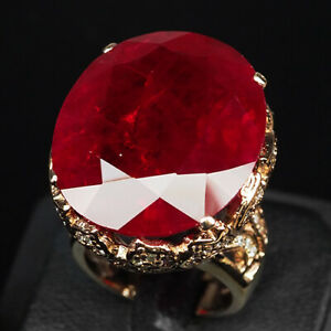 RUBY PIGEON BLOOD RED OVAL 52.30 CT.SAPP 925 STERLING SILVER ROSE GOLD RING SZ 7