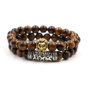 2Pcs New Fashion Tiger Eye Gold Lion Head Beaded Yoga Stretch Couple Bracelets