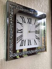 LOOSE DIAMANTE MIRRORED WALL CLOCK CRUSHED JEWEL ROMAN NUMBER GLASS CLOCK 35CM