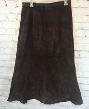 Brown Suede Leather Vintage Skirt Roth Le Coven Women's Sz 8 BoHo Hipster Long