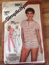 SIMPLICITY vintage sewing pattern (9890)  stretch gym set ladies size 8