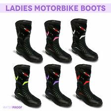 Damen Motorrad Lederschuhe Wasserdichtmotorrad Damen Racing Boot Gepanzert