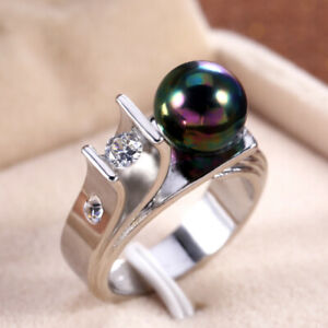 Fashion men/Women 925 Silver Jewelry Round Cut Black Pearl Wedding Ring Size6-10