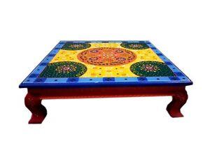 Multicolor Holz Bajot Religiös Chowki Klein Handbemalt Tisch Wohndeko Kunst