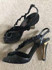 Ladies Fiona McGuinness Black Leather Shoes UK Size 6 EU 39 Slingback Peep-Toe