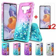 For LG Stylo 6 Phone Case Liquid Bling Glitter Quicksand TPU Case+Tempered Glass