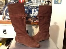 Nine West Nwmentry Brown Suede Leather below knee high Boot Size 8.5