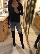 "Aldo OTK Black Matte Leather Thigh High ""Rixon"" ? Over The Knee Black Boots 8.5"