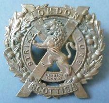 Badge- WW1 London Scottish Regiment Cap Badge (Cast WM, Genuine*)
