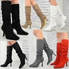Womens Ladies Low Heel Calf Fashion Ruched Boots Stretchy Party Winter Shoes New