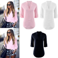 Womens Pure Color Summer Loose Tops Long Sleeve V-Neck Casual Blouse T-shirt