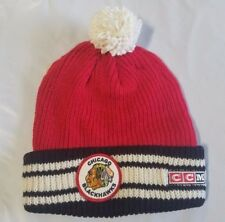 Chicago Blackhawks Knit Beanie Toque Winter Hat CCM NHL Retro Logo Cuffed Pom