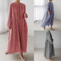 Mode Femme Robe Casuel Loose A-Line Manche longue Col Rond Vérifier Dresse Plus