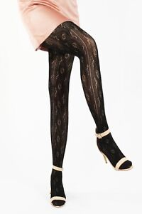 Leamel Knitted Patterned Fishnet Tights Cypress