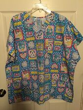 Womens Plus Size 2X Scrubs Top Multi Colored Blocks Pets & Sayings