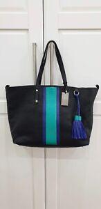 Jigsaw Amelia Stripe Leather Shopper Bag Navy RRP £149