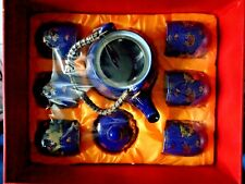 7 tlg. Chinesisches Tee-Service blau-gold-weiß Teekanne mit Deckel + 6 Teetassen