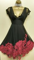 Size UK 12 Karen Millen Black Fuchsia Embroidered Floral Bardot Fit Flare Dress