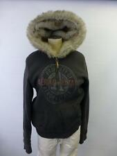 womens AEROPOSTALE dark gray faux fur parka hooded Jacket coat ski thk lined XL