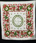 Vintage Tablecloth Cotton Printed Christmas Shiny Brites Metallic Gold Estate
