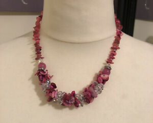 Pink Shell Chips Glass Crystal Plastic Beaded Necklace Holiday Boho Statement (L