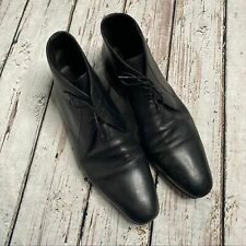 A. Testoni men's black leather dress shoes 11