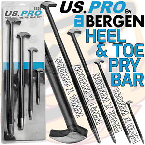 US PRO Heel Toe Pry Bar Set 4pcs Podgers Pry Toe Bar 150mm 300mm 400mm 500mm