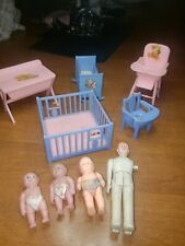 Renwal Dollhouse Furniture Plastic Pink & Blue Baby Nursery 5 Piece Babies Dad