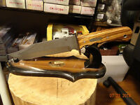 WINCHESTER BOWIE KNIFE 14 1/4' OA.BIRCH WOOD HANDLE STONEWASH 440 STAINLESS BLAD