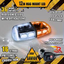 36 LED Light Bar Top Beacon Magnetic Hazard Roof Emergency Strobe White Amber A