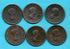 6 X 1807 HALFPENNY COINS. KING GEORGE III. IN A WELL USED CONDITION. JOB LOT.