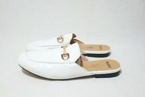 Mollini Size 7 & 8 Womens White Leather Mules Horsebit Detail Half Flat Shoe