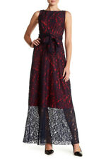 $356 Eva Franco Adelle Lace Dress Navy Blue / Red Size 4