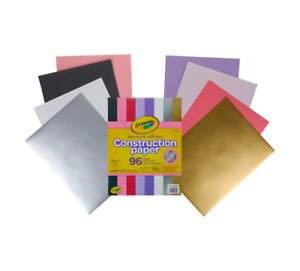 "NEW Crayola Construction Paper Sweetheart Collection 96 ct 9"" x 12"" Silver Gold"